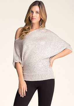 bebe Asymmetric Sequin Sweater