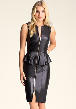 Leather Zip Peplum Dress at bebe