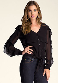 bebe Ruffle Sleeve Button-Up Top