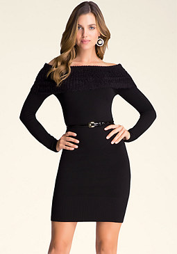 bebe Fuzzy Off Shoulder Dress