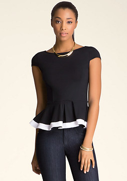 bebe Cap Sleeve Peplum Top