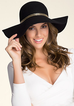 bebe Chain Trim Floppy Hat