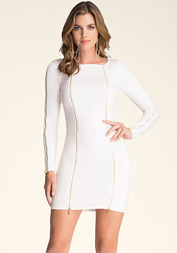bebe Zip & Stud Dress
