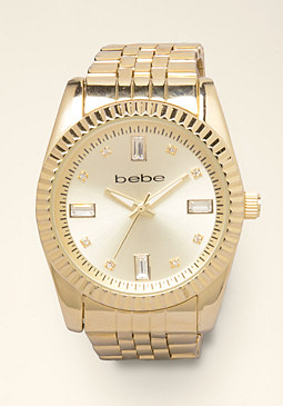 bebe Ridged Bezel Watch