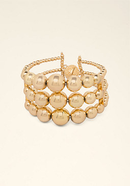 bebe Triple Row Beaded Bracelet