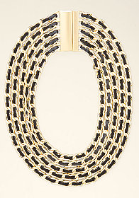 bebe Leather & Chain Necklace
