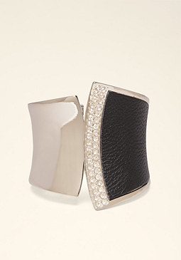bebe Abstract Faux Leather Cuff