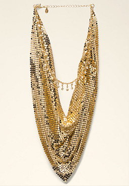 bebe Short Chainmail Necklace