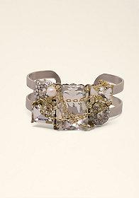 bebe Pearl & Chain Cuff