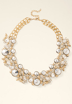 bebe Multi-Stone Floral Necklace