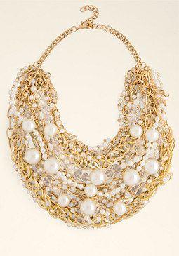 bebe Pearl & Chain Necklace