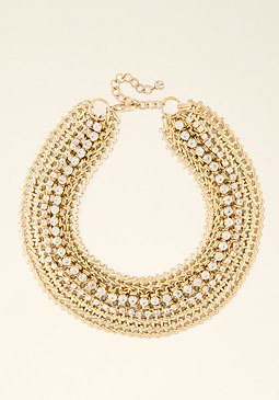bebe Chain & Crystal Necklace