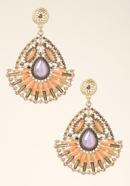 bebe Gemstone Fan Earrings