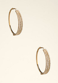 bebe Rhinestone Hoop Earrings