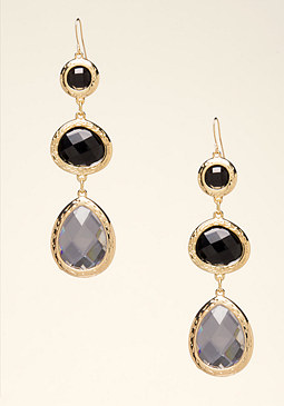bebe Triple Stone Drop Earrings