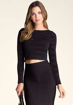 bebe Shadow Stripe Crop Top
