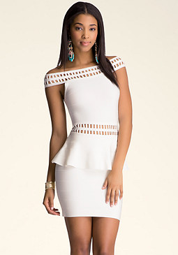 bebe Cage Detail Peplum Dress