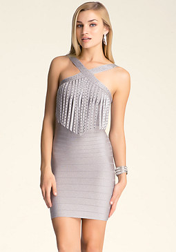 bebe Embellished Fringe Dress