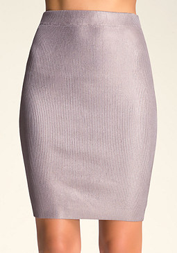 bebe Ribbed Foil Skirt