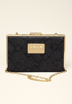 bebe Simone Exotic Box Clutch