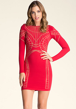 bebe Studded V-Back Dress