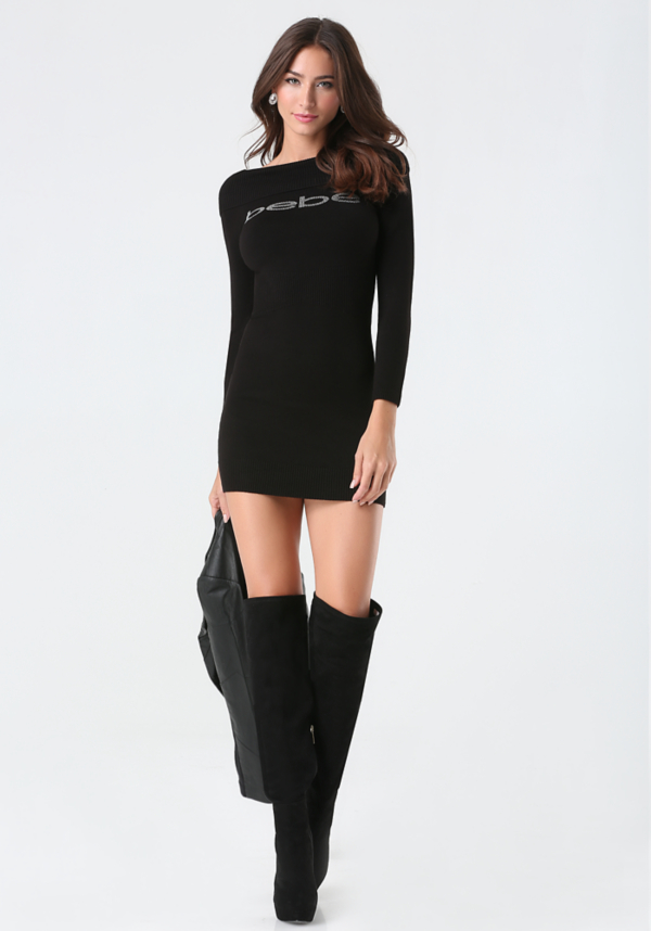 Logo Cinched Sweater Dress at bebe in Sherman Oaks, CA | Tuggl