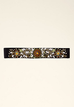 bebe Black Beaded Stretch Belt
