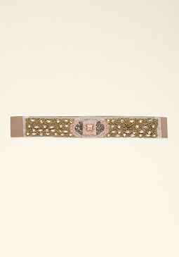 bebe Natural Beaded Stretch Belt