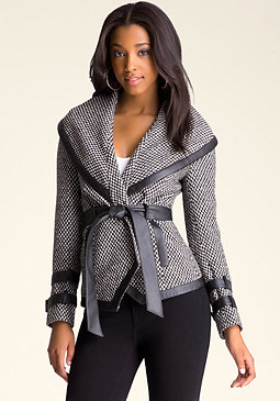 bebe Teri Wrap Tweed Jacket