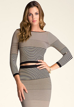 bebe Stripe Crop Top