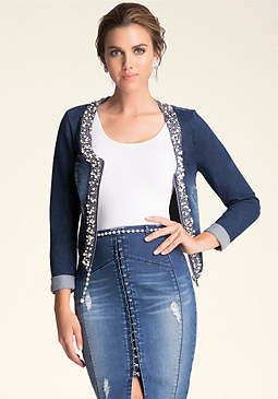 bebe Embellished Denim Jacket