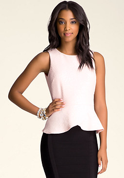 bebe Rose Jacquard Peplum Top