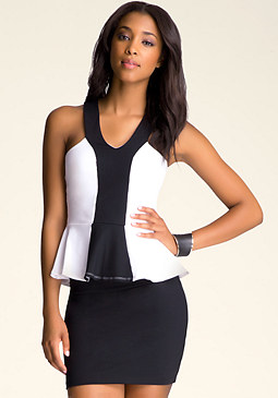 Colorblock Peplum at bebe