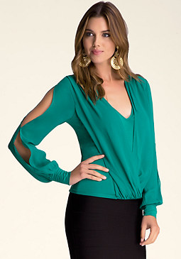 bebe Silk Wrap Top