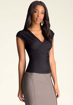 bebe Solid Surplice Top