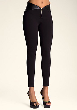 bebe Zip Front Leggings