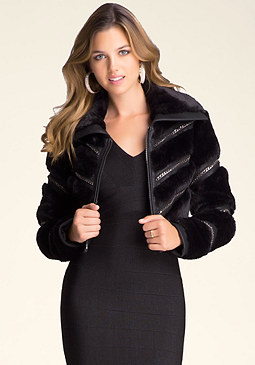 bebe Faux Fur & Chain Jacket