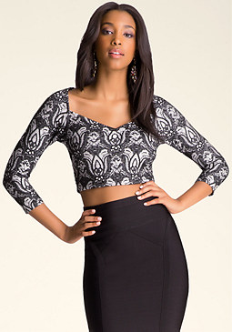bebe Sweetheart Neck Crop Top