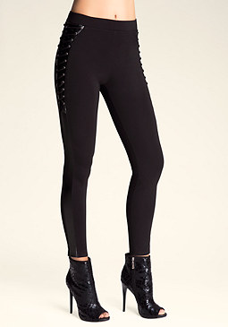 bebe Petite Lace-Up Tux Leggings