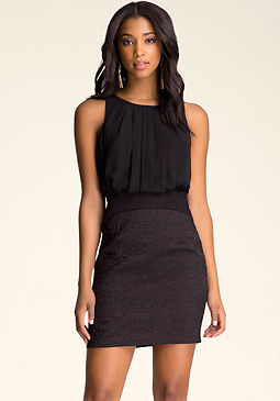 bebe Multimedia Jacquard Dress