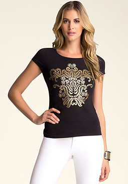bebe Slash-Back Graphic Tee