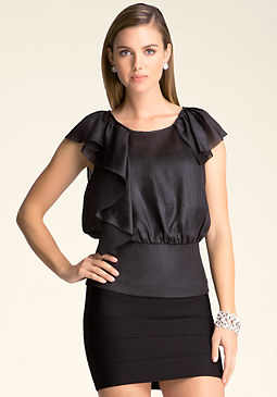 bebe Ruffle Neck Banded Top
