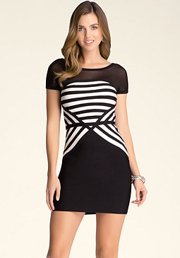 bebe Miter Striped Dress