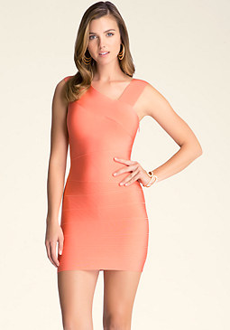 bebe Asymmetric Straps Dress