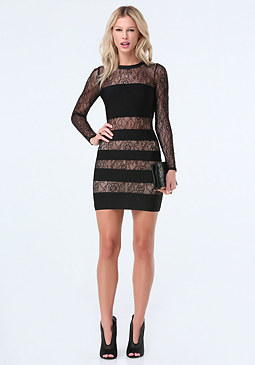 bebe Bandage & Lace Dress