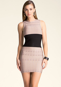 bebe Allover Stud Bandage Dress