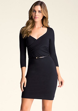 bebe Belted Surplice Dress