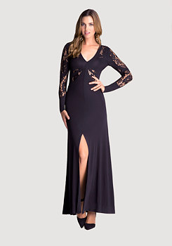 Petite V-Neck Lace Gown at bebe