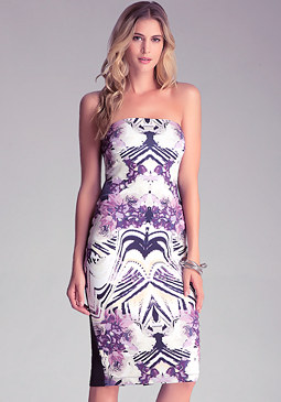 Petite Strapless Midi Dress at bebe