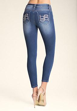 bebe Pearl Logo Skinny Jeans